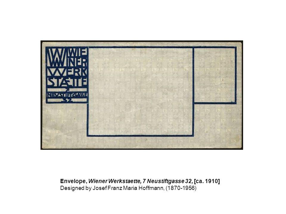 Envelope, Wiener Werkstaette, 7 Neustiftgasse 32, [ca. 1910]